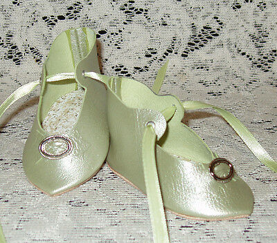 """French Style Leather Doll Shoes for 3 1/4"""" foot x 1 5/8""""~ Light Green Pearl"""