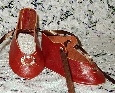 """French Style Leather Doll Shoes for 3 1/4"""" foot x 1 5/8""""~ Rust Brown"""