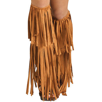 A713 1970s Hippy Hippie Fringe Brown Indian Viking Cowgirl Boot Top Shoe Covers
