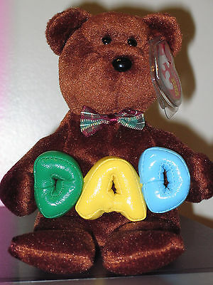 Ty Beanie Baby ~ DAD the Bear ~ MINT with MINT TAGS ~ RETIRED Stuffed Animal Toy