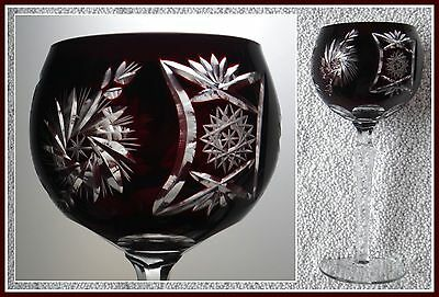 Deep RUBY RED Wine Glass Goblet Hock CUT TO CLEAR 24% Lead CRYSTAL Pinwheel