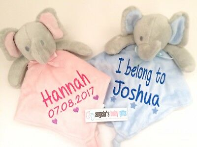Personalised Baby Elephant Comforter Blanket Pink Blue Boy Girl Newborn Gift
