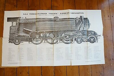 LNER 4-6-2 Three Cylinder Pacific Express Loco Locomotive Technical Drawing