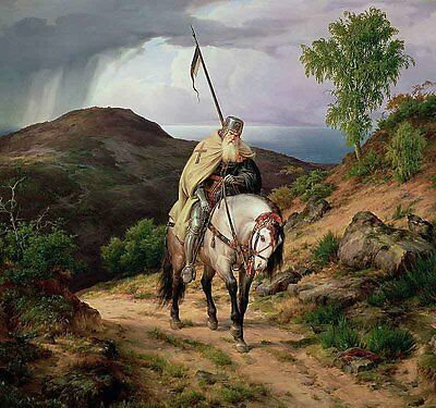 Oil painting Last Crusader old soldier with white horse horseman in landscape