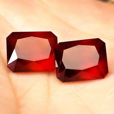HESSONITE GARNET-MOZAMBIQUE 11.78Ct TW PERFECT MATCHING PAIR-GERMAN CUT!