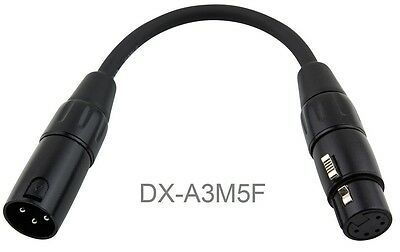 6-inch XLR 5-Pin Female to 3-Pin Male Turnaround DMX Adapter Cable, DX-A3M5F