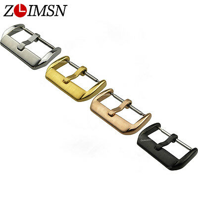 Stainless Steel Silver Rose Gold Plated Black PVD Watch Band Pin Buckle 10~22mm