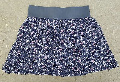ESPECIALLY FOR YOU Girls Grey Flowers Elasticated Skirt 100% Cotton 8-9 Yrs