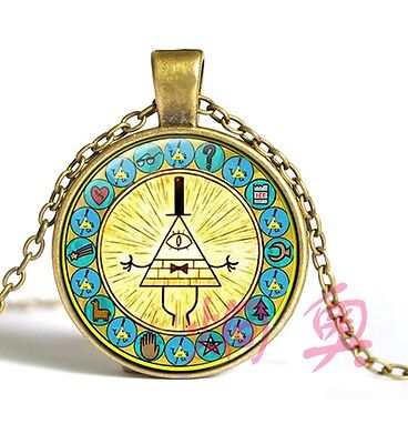 Vintage Drama Gravity Falls Mysteries Bill Cipher Wheel Necklace Pendant Chain