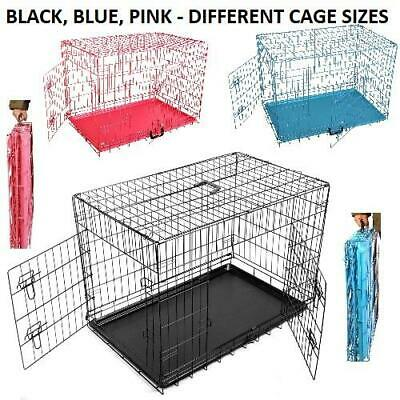 Metal Pet Dog Puppy Cage Carrier Folding Training Crate Travel   Blue Black Pink