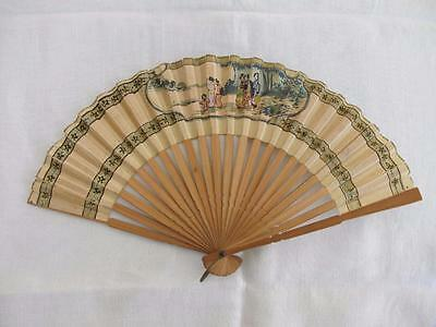 VINTAGE 1930's WOOD & PAINTED PAPER FAN -  JAPANESE GEISHA GIRL