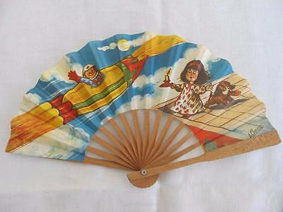 VINTAGE 1940's CHILDREN'S PRINTED WOOD HAND FAN - SPACE ROCKET