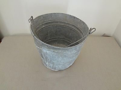Old Galvanized Primitive Bucket Porch Patio Planter with Handle and Drain Holes