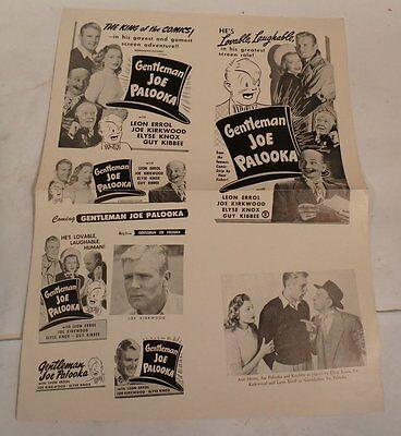 Original Vintage 1946 Gentleman Joe Palooka Advertising Movie Press Kit