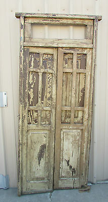 Antique Pair Mexican Old Doors-Primitive-Rustic 36x88.5  With Frame & Transom