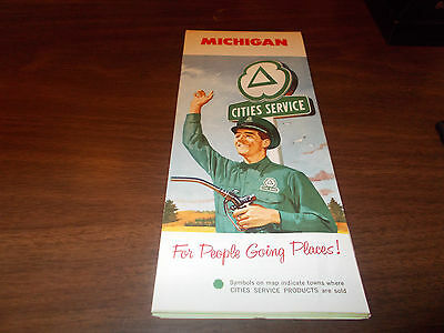 1961 Cities Service Michigan Vintage Road Map