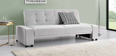 Modern Grey Fabric 3 Seater Small Sofa Bed With Bluetooth Music Speakers Option