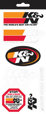 89-11831 K&N AIR FILTER STICKER DECAL SHEET with 7 STICKERS inc 266x114mm