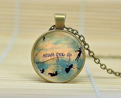 Vintage Peter Pan Tinkerbell Themed Glass Pendant Necklace Never Grow Up