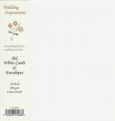 50 x DL SIZE WHITE LINEN TEXTURE BLANK CARDS 300gsm & ENVELOPES 120gsm W107