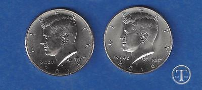 2016 P AND D Kennedy Half Dollar Set-PD BU from rolls - 2 Uncirculated Coins