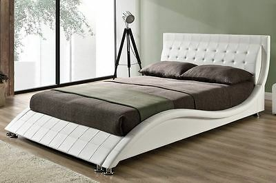 Cool Modern Designer Bed Frame Black White Faux Leather Double King Size