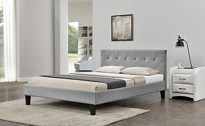Contemporary Stylish Modern Grey Fabric Upholstered Bed Single Double King Size