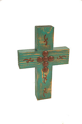 Mesilla Rustic Cross--Mexican Folk Art-8x12-Clavos-Turquoise & Brown-Handmade
