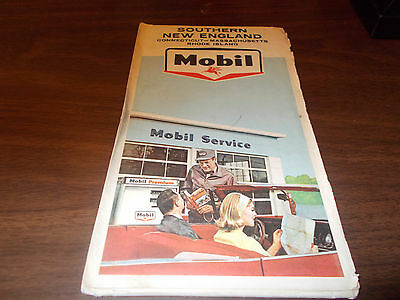1965 Mobil Southern New England Vintage Road Map