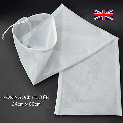 NEW- POND SOCK FILTER BAG =24cm X 80cm= WITH DRAW CORD FITS FILTER OUTLET PIPE