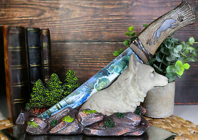 Gray Wolf In Forest Scene Centerpiece With Hunting Knife Letter Opener Statue