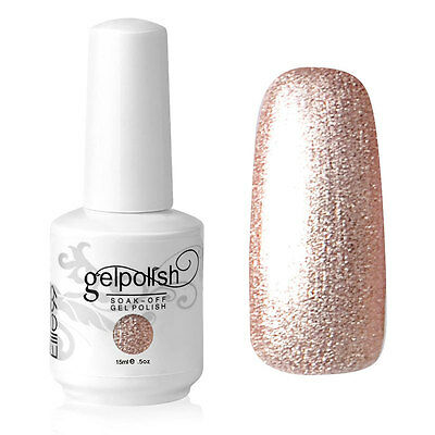 Elite99 Esmalte de Uña Gel Color Dorado Brillo Soakoff UV LED Manicura Arte 15ml
