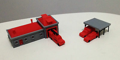 Outland Models Railroad Suburban Fire Station with 3 Fire Engine Trucks Z Gauge