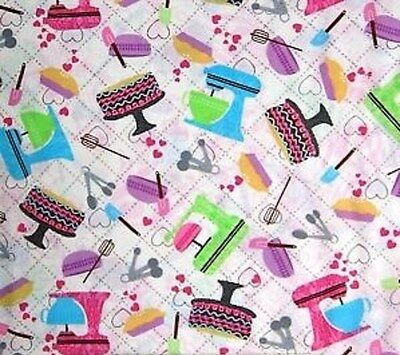 Fat Quarter Bake Sale Mix Master Kitchenalia 100% Cotton Quilting Fabric White
