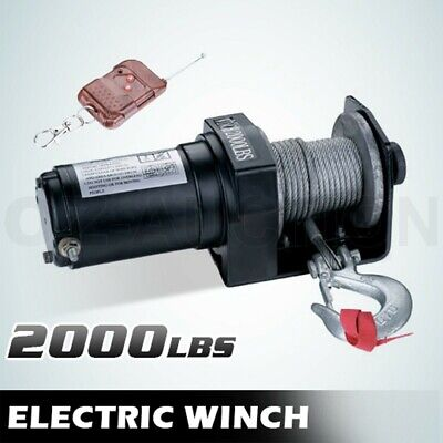 Wireless 12V 2000LBS Remote Control Electric Winch ATV Steel Wire Cable Boat