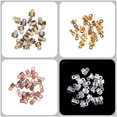 500pcs  Fold Over End Cord Findings DIY Crimp Bead Silver/Golden 3x6mm,4x9mm