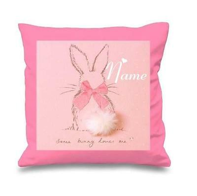 Little Bunny White / Pink Cushion Cover Can Be Personalised  New Free P&p