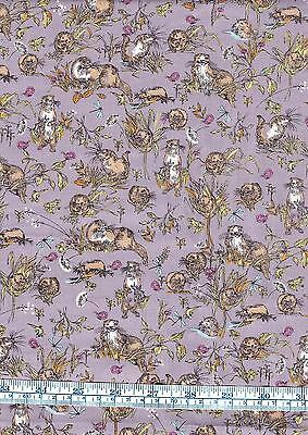 Fat Quarter Otters 100% Cotton Quilting Fabric Riverbank Wildlife Mauve