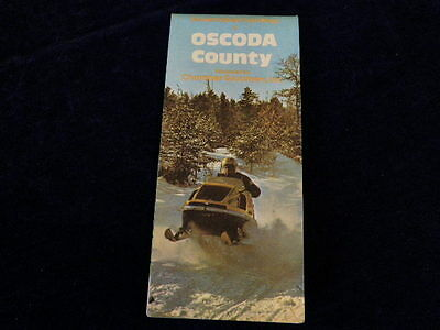 Vintage 1982 Official Oscoda County SNOWMOBILE TRAIL Michigan Road Map MI