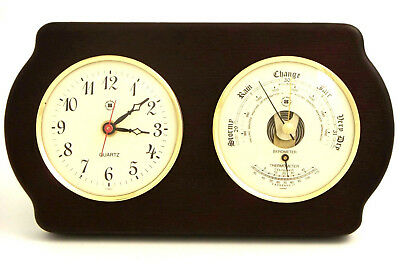 Bey-Berk Wall Clock with Barometer and Thermometer BYB1129