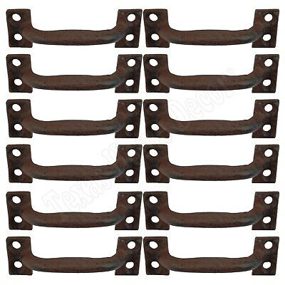 """12 Small Drawer Pulls Door Cabinet Handles Rustic Cast Iron Antique Style 3.5"""""""