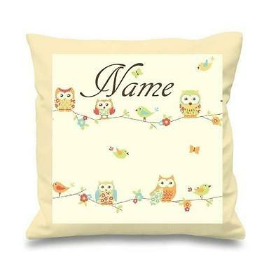 Owls  Beige / Yellow Cushion Cover Can Be Personalised  New Free P&p