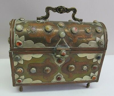 Antique 19th C ANGLO-INDIAN INLAID MIXED-METAL Box w/ Inset Gem Stones  c. 1900