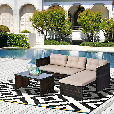 New 3pc Rattan Wicker Sofa Bed Lounge Chaise Chair Patio Furniture Set Garden