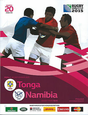 TONGA v NAMIBIA RUGBY WORLD CUP 2015 OFFICIAL PROGRAMME, 29 Sep at Exeter No 20