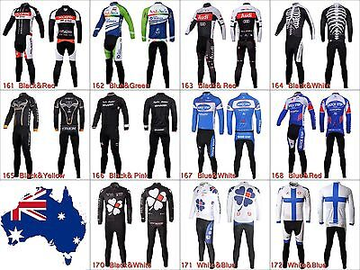 Mens Cycling Jersey Kit Set Outfits Bike Bicycle Clothing Long Sleeve Shirt Pant