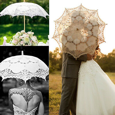 Chic Lady Vintage Handmade Cotton Parasol Lace Sun Umbrella Bridal Wedding Party