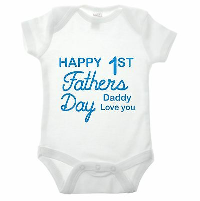 Happy First Fathers Day Baby Grow - Funny children kids gift dad daddy wear cool