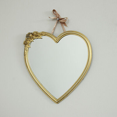 Gold heart wall mirror vintage style ribbon shabby home chic decoration