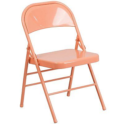 Hercules Color Burst Triple Braced & Double Hinged Metal Folding Chair - Coral